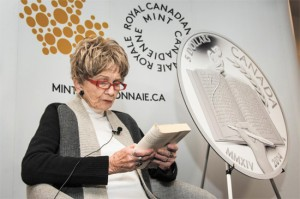 Alice Munro recites a passage from The View from Castle Rock at the Royal Canadian Mint's launch of a silver collector coin celebrating her Nobel Prize in Literature.