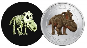 Named Most Innovative Coin, Canada's 25-cent coin depicting Pachyrhinosaurus lakustai shows the dinosaur's skeleton when examined in darkness.