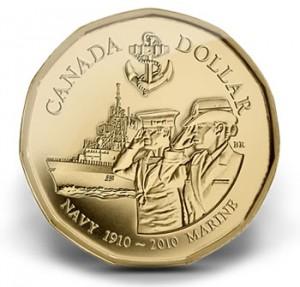 2010 Canadian Navy Centennial $1 Circulation Coin.