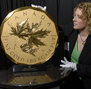 In 2007, the Royal Canadian Mint produced the world's first million dollar coin. The 100 kg, 99999 pure gold bullion coin has a $1 million face value.