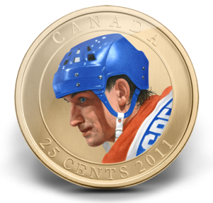The 25-cent coloured coin of Gretzky was also released by the RCM in 2011.