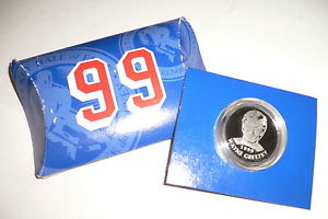 This Hockey Hall of Fame Inductees Medallion coin of Gretzky was released in 1999.