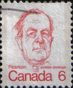 Canada Post issued this six-cent stamp of Pearson in 1973.