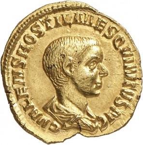 Lot 674, a rare aureus of HOSTILIAN as Caesar (251), graded good Extremely Fine. Estimate: 25,000 euros. Hammer price: 50,000 euros.