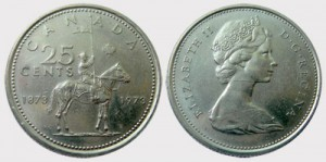 """The """"Large Bust"""" 1973 25-cent piece (pictured above) was struck with the back die of the 1972 quarter, which featured a larger bust of Queen Elizabeth II and less than 100 beads."""