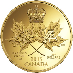 2015 $200 Pure Gold Coin- A Historic Reign Rev.