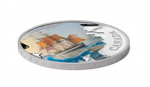 """Inscribed along the coin's edge are the words """"H.M.S. Erebus"""" and """"H.M.S. Terror""""."""