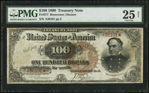 "Lot #18916 is this popular 1890 ""Watermelon"" $100 treasury note that's expected to realize more than $150,000 USD ($190,000 Cdn.)."
