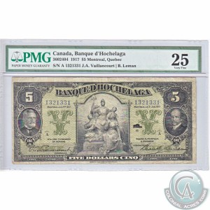 Lot 718, this 1917 Banque d'Hochelaga note in Paper Money Guaranty Very Fine-25, sold for $3,450. (Photo by Colonial Acres Coins)