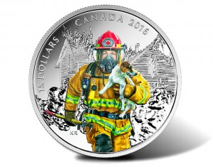 The first of the series' four coins pays tribute to firefighters.