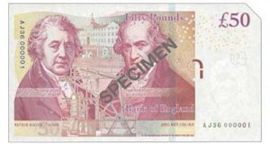 Lot 134 was this £50 note with a serial number 'AJ36 000001'. It realized £8,500.