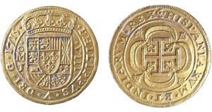 The 1715 Plate Fleet has yielded nine of these special presentation Royal gold coins, including this one dated the year of the wreck. (Photo by 1715 Fleet-Queens Jewels)