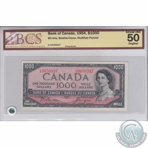 This 1954 Bank of Canada $1,000 banknote featuring the modified portrait of Queen Elizabeth II (BC-44a) sold for $2,875. (Photo by Colonial Acres)