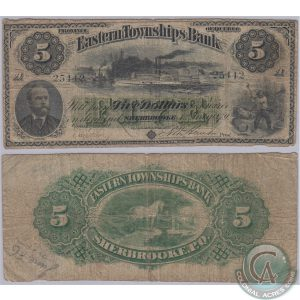 This 1879 Eastern Township Bank $5 note (CH-230-14-04) in Very Good Plus condition brought $5,750. (Photo by Colonial Acres)